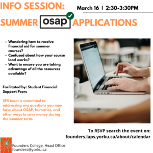 Information Session: Summer OSAP Applications
