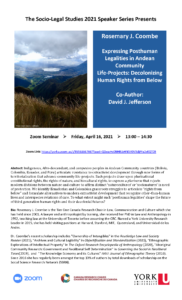 "The Socio-Legal Studies 2021 Speaker Series Presents Rosemary J. Coombe on ""Expressing Posthuman Legalities in Andean Community  Life-Projects: Decolonizing Human Rights from Below"" @ Zoom Seminar"